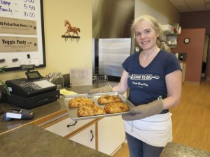 Owner Holly Bevan-Bumford with fresh pasties at Good to Go Meat Pies' new location in Lynden at 305 Grover Street. PHOTO BY BECCA SCHWARZ COLE